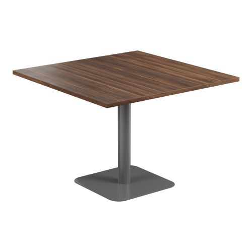 Contract Table 1000 X 1000 Semi Silver Frame Dark Walnut Top