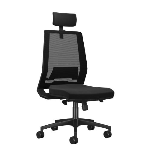 Rome Mesh High Back Chair With Headrest - Black Frame Black Fabric