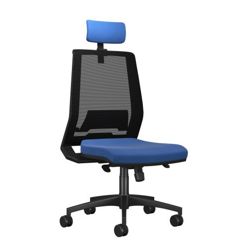 Rome Mesh High Back Chair With Headrest - Black Frame Blue Fabric