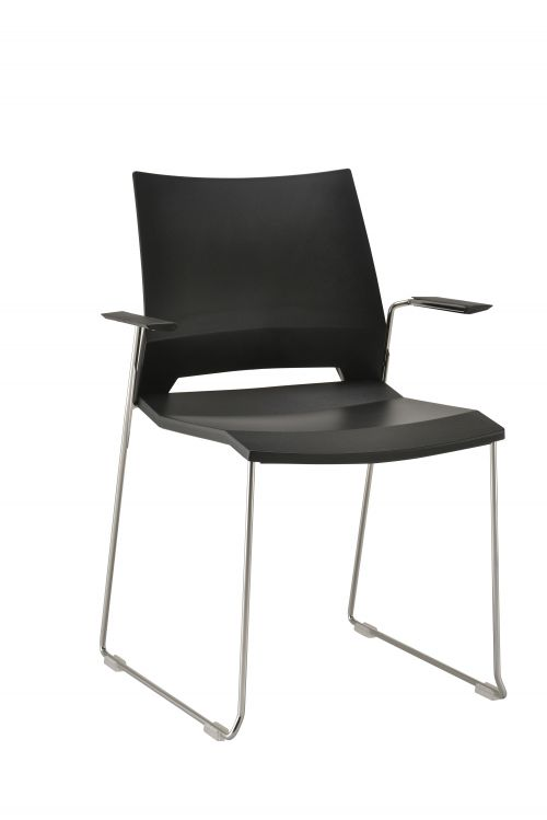 Rome Skid Armchair - Black