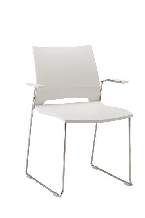 Rome Skid Armchair - White