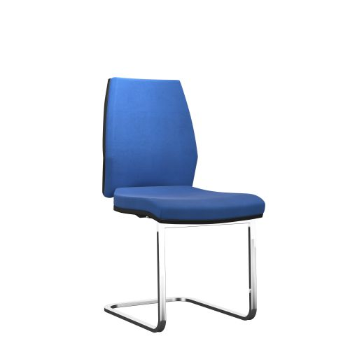 Rome Visitor Chair - Black Frame Blue Fabric