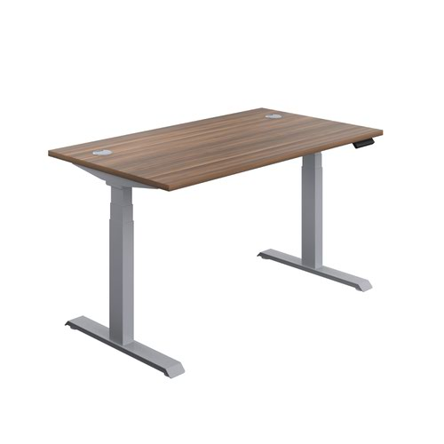 Economy Sit Stand Desk 1400 X 800 Dark Walnut-Silver