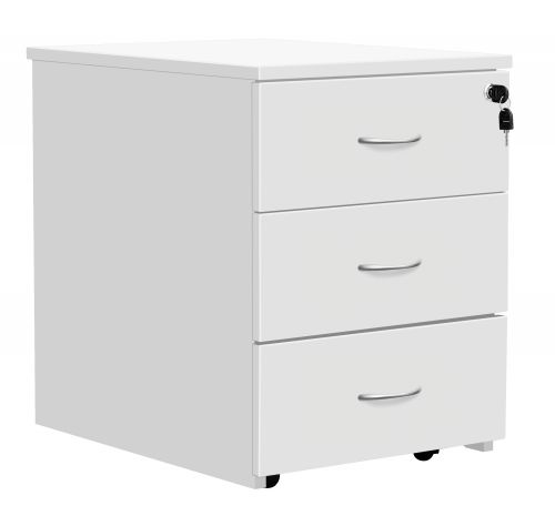 Eco 18 3 Drawer Mobile Pedestal White