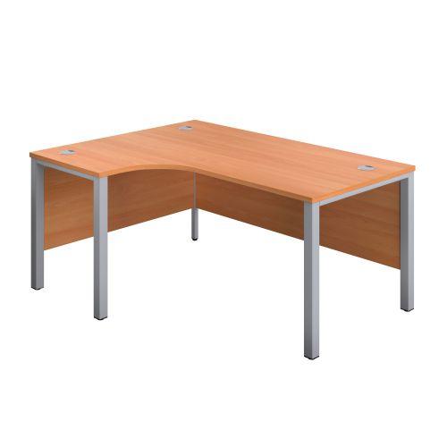 1200X1200 Goal Post Left Hand Radial Desk Beech-Silver