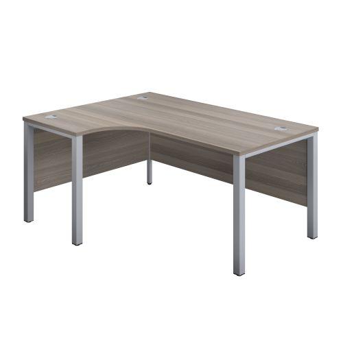 1200X1200 Goal Post Left Hand Radial Desk Grey Oak-Silver