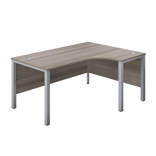 1200X1200 Goal Post Right Hand Radial Desk Grey Oak-Silver