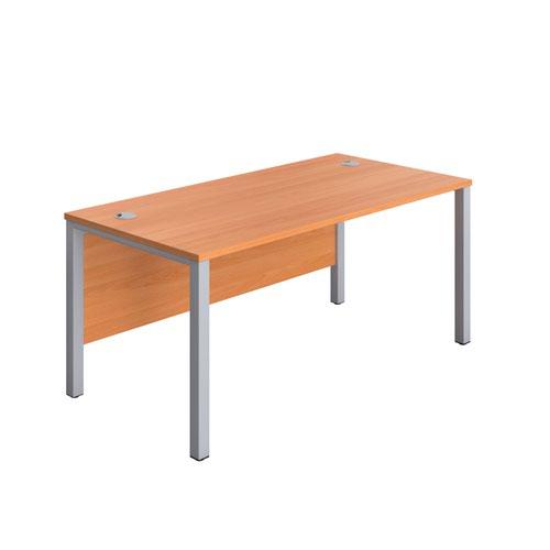 1200X600 Goal Post Rectangular Desk Beech-Silver