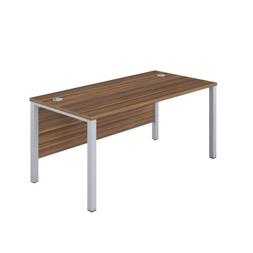 1200X600 Goal Post Rectangular Desk Dark Walnut-Silver