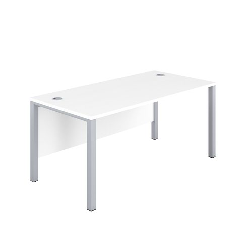 1200X600 Goal Post Rectangular Desk White-Silver