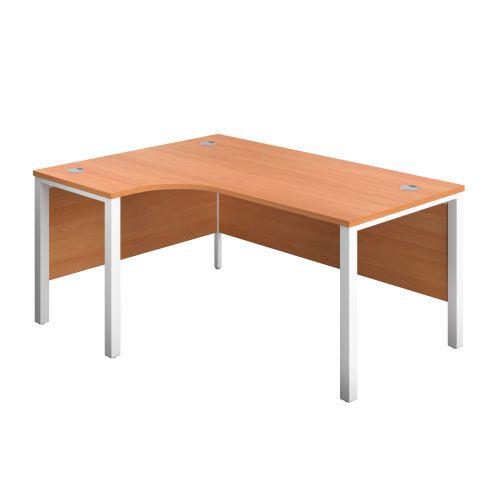 1400X1200 Goal Post Left Hand Radial Desk Beech-White