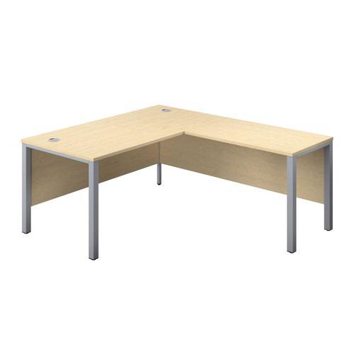 1600X800 Goal Post Right Hand Return Desk Maple-Silver