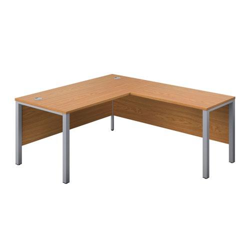 1600X800 Goal Post Right Hand Return Desk Nova Oak-Silver