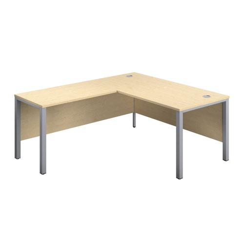 1800X800 Goal Post Left Hand Return Desk Maple-Silver