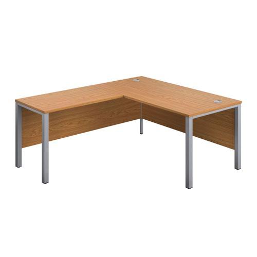 1800X800 Goal Post Left Hand Return Desk Nova Oak-Silver