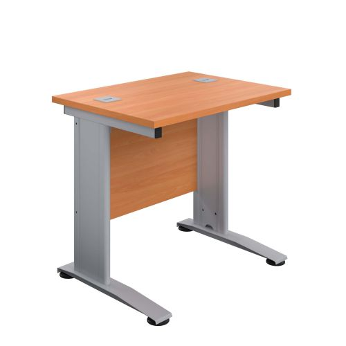 800X600 Cable Managed Upright Rectangular Desk Beech-Silver