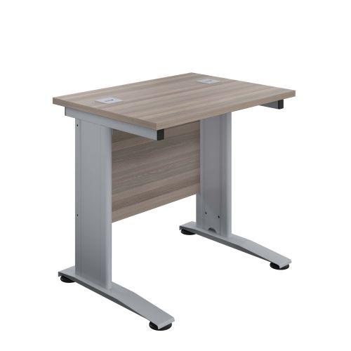 800X600 Cable Managed Upright Rectangular Desk Grey Oak-Silver