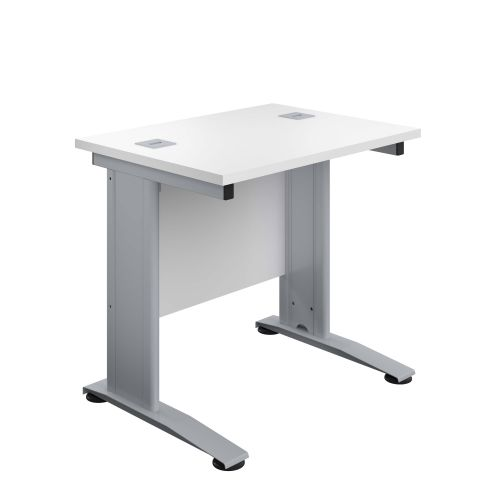 800X600 Cable Managed Upright Rectangular Desk White-Silver