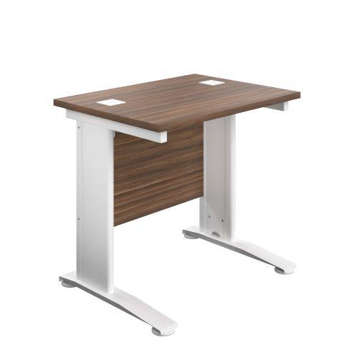 800X600 Cable Managed Upright Rectangular Desk Dark Walnut-White
