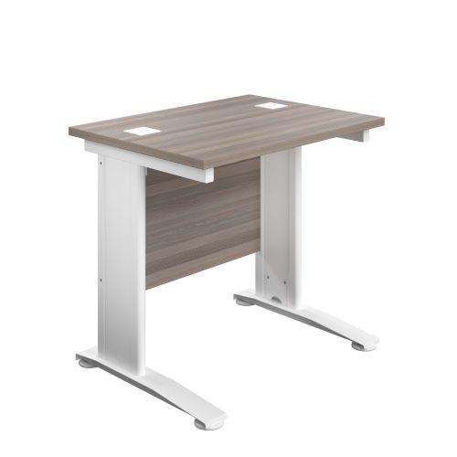 800X600 Cable Managed Upright Rectangular Desk Grey Oak-White
