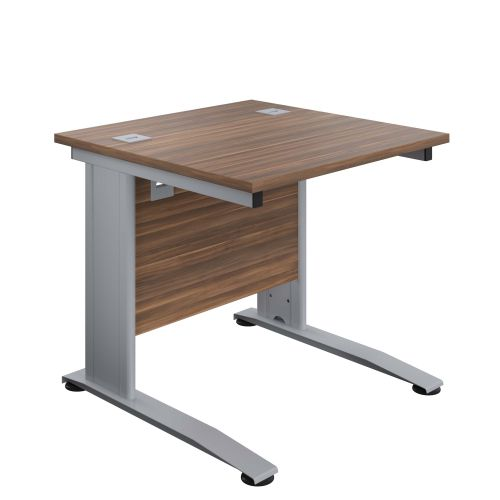 800X800 Cable Managed Upright Rectangular Desk Dark Walnut-Silver