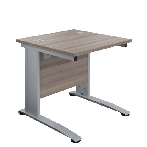 800X800 Cable Managed Upright Rectangular Desk Grey Oak-Silver