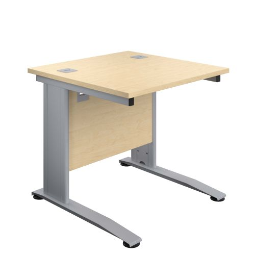 800X800 Cable Managed Upright Rectangular Desk Maple-Silver