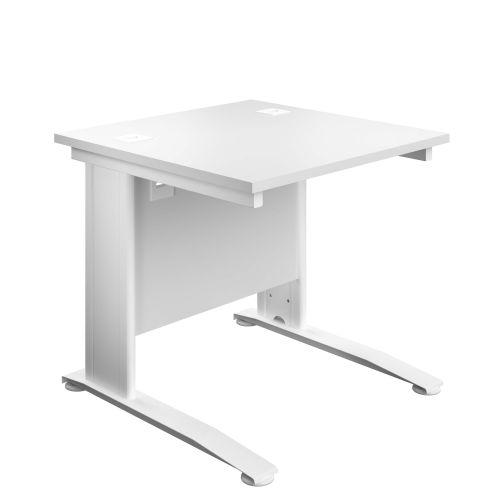 800X800 Cable Managed Upright Rectangular Desk White-White