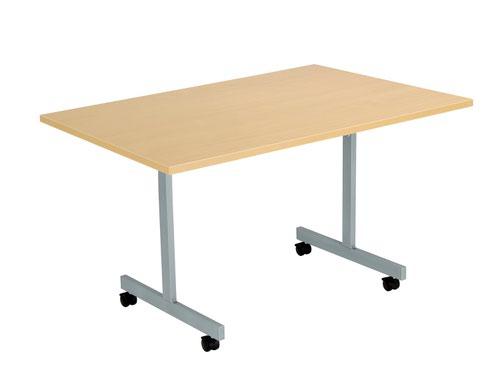 One Eighty Tilting Table 1200 X 800 Silver Legs Nova Oak Rectangular Top