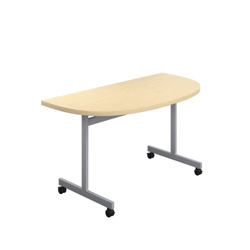 One Eighty Tilting Table 1400 X 700 Silver Legs Maple D-End Top
