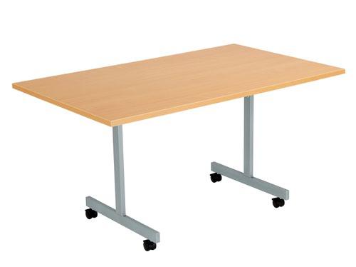 One Eighty Tilting Table 1400 X 800 Silver Legs Beech Rectangular Top