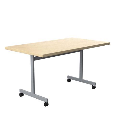 One Eighty Tilting Table 1400 X 800 Silver Legs Maple Rectangular Top