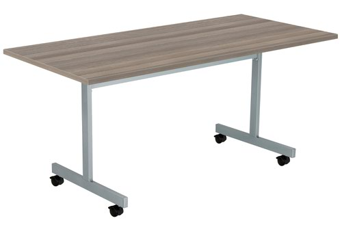 One Eighty Tilting Table 1600 X 700 Silver Legs Grey Oak Rectangular Top