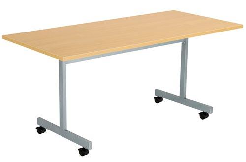 One Eighty Tilting Table 1600 X 700 Silver Legs Nova Oak Rectangular Top