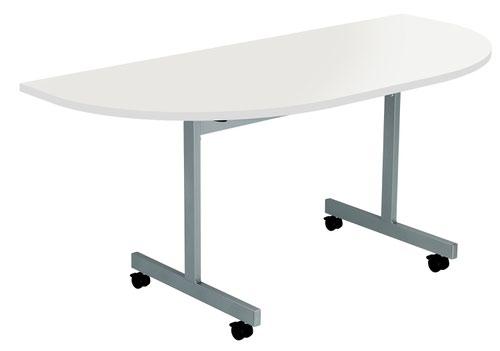 One Eighty Tilting Table 1600 X 800 Silver Legs Grey Oak D-End Top