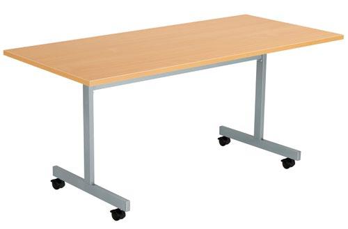 One Eighty Tilting Table 1600 X 800 Silver Legs Beech Rectangular Top