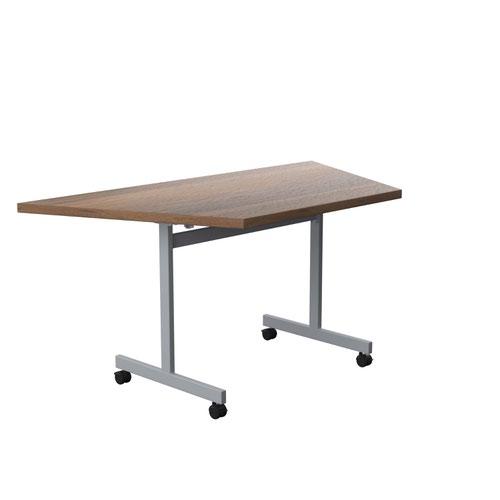 One Eighty Tilting Table 1600 X 800 Silver Legs Dark Walnut Trapezoidal Top