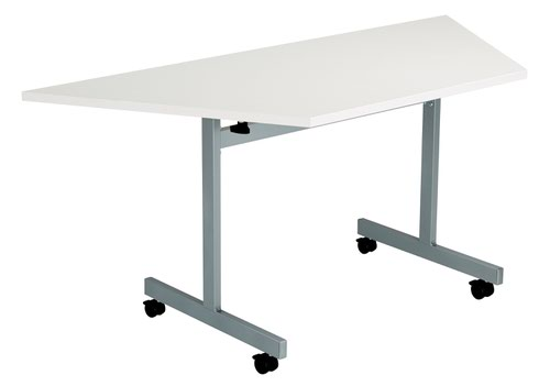 One Eighty Tilting Table 1600 X 800 Silver Legs White Trapezoidal Top