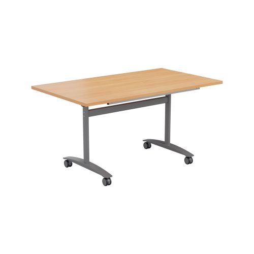 One Tilting Table 1200 X 800 Silver Legs Beech Top