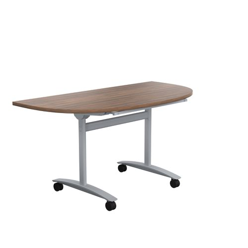 One Tilting Table 1400 X 700 Silver Legs Dark Walnut D-End Top