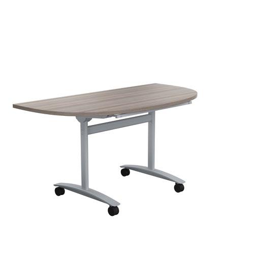 One Tilting Table 1400 X 700 Silver Legs Grey Oak D-End Top