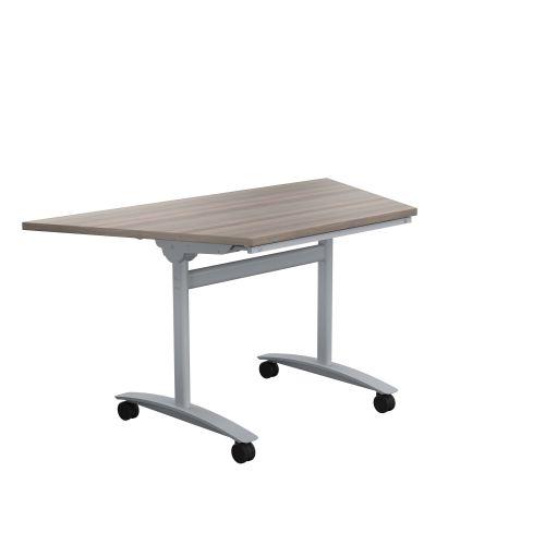 One Tilting Table 1400 X 700 Silver Legs Grey Oak Trapezoidal Top