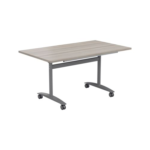 One Tilting Table 1400 X 700 Silver Legs Grey Oak Top