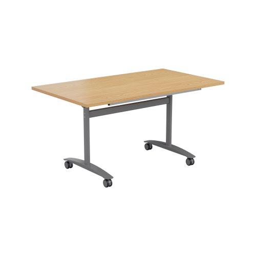 One Tilting Table 1400 X 800 Silver Legs Nova Oak Top
