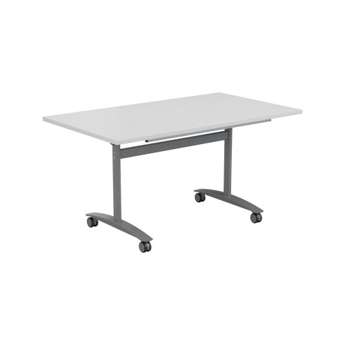 One Tilting Table 1400 X 800 Silver Legs White Top