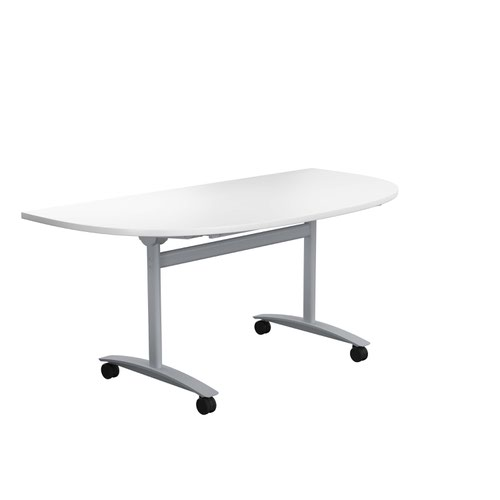 One Tilting Table 1600 X 800 Silver Legs White D-End Top
