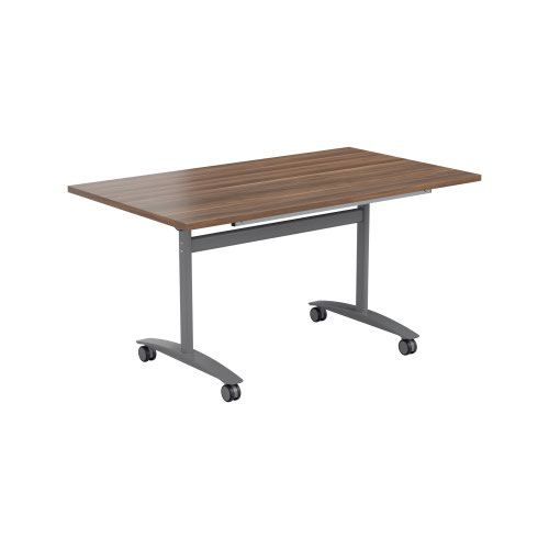 One Tilting Table 1600 X 800 Silver Legs Dark Walnut Top