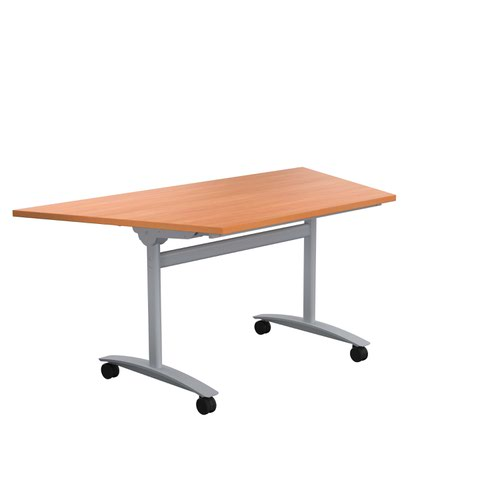 One Tilting Table 1600 X 800 Silver Legs Beech Trapezoidal Top
