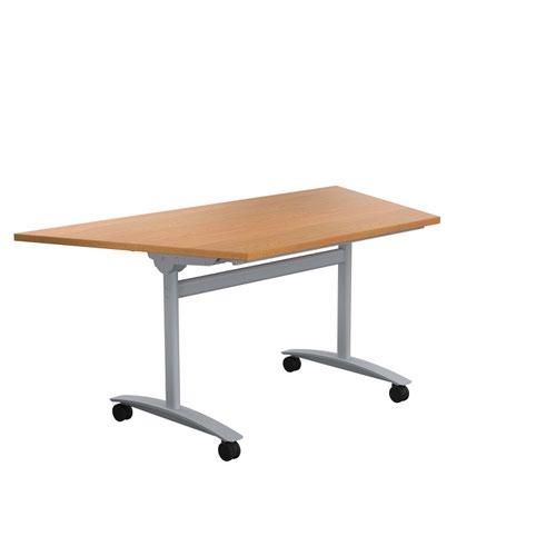One Tilting Table 1600 X 800 Silver Legs Nova Oak Trapezoidal Top