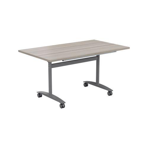 One Tilting Table 1800 X 800 Silver Legs Grey Oak Top